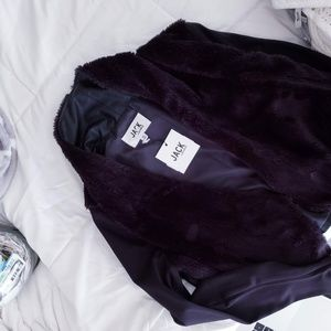 NWT BB Dakota Faux Fur Leather Drape Jacket Blazer
